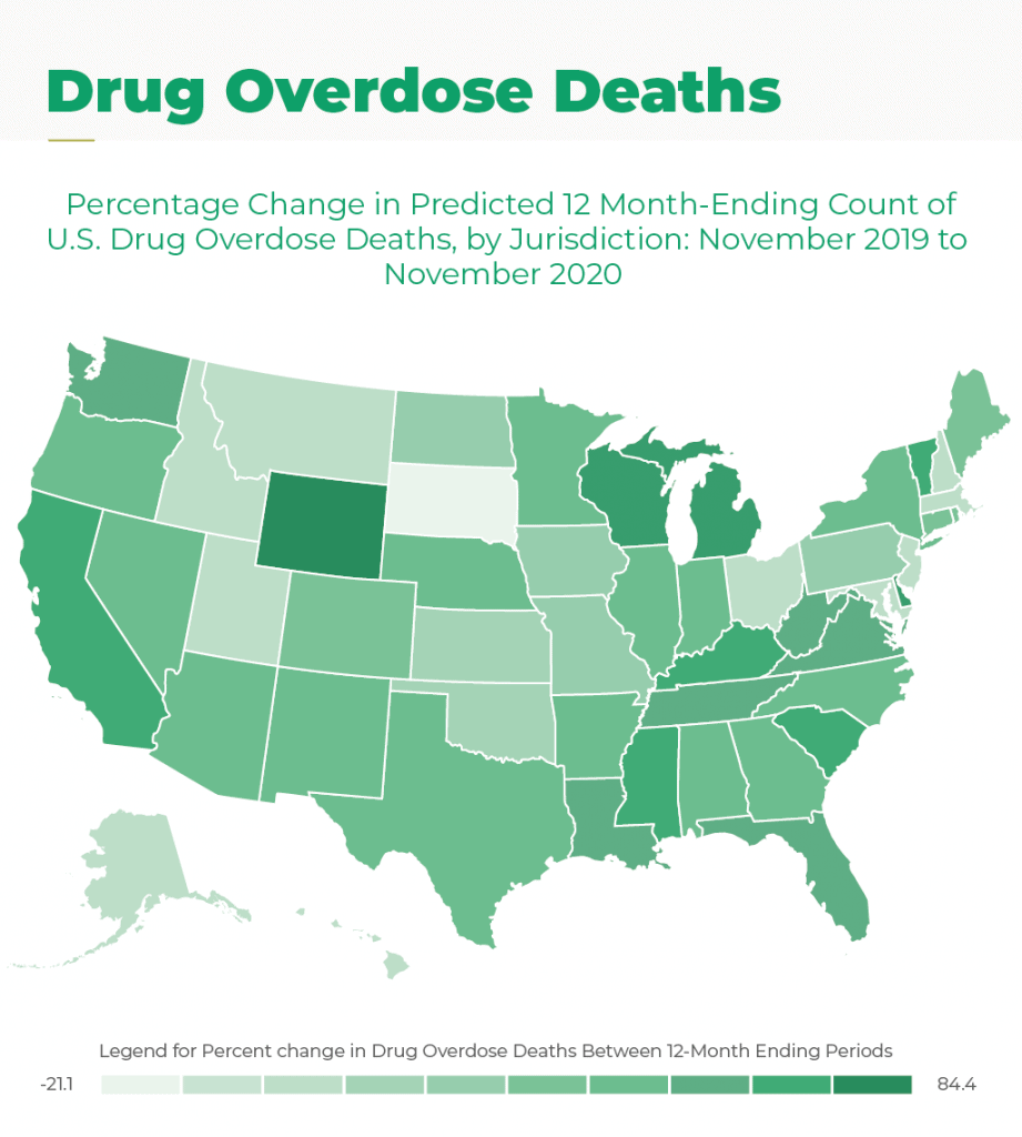 Drug overdose deaths between 12 month ending periods went from -21.1 percent to 84.4 percent in the U.S.