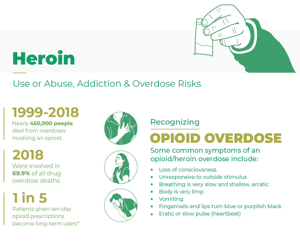 Heroin, Use or abuse, addiction and overdose risks. from 1999 to 2018 nearly 450000 people died from overdoses involving an opioid, in 2018 were involved in 69.9 percent of all drug overdose deaths. 1 in 5 patients given ten day opioid prescriptions become long term users. Some common symptoms of an opioid or heroin overdose include loss of consciousness, unresponsive to outside stimulus, breathing is very slow and shallow, erratic, body is very limp, vomiting, fingernails and lips turn blue or purplish black and eratic or slow pulse