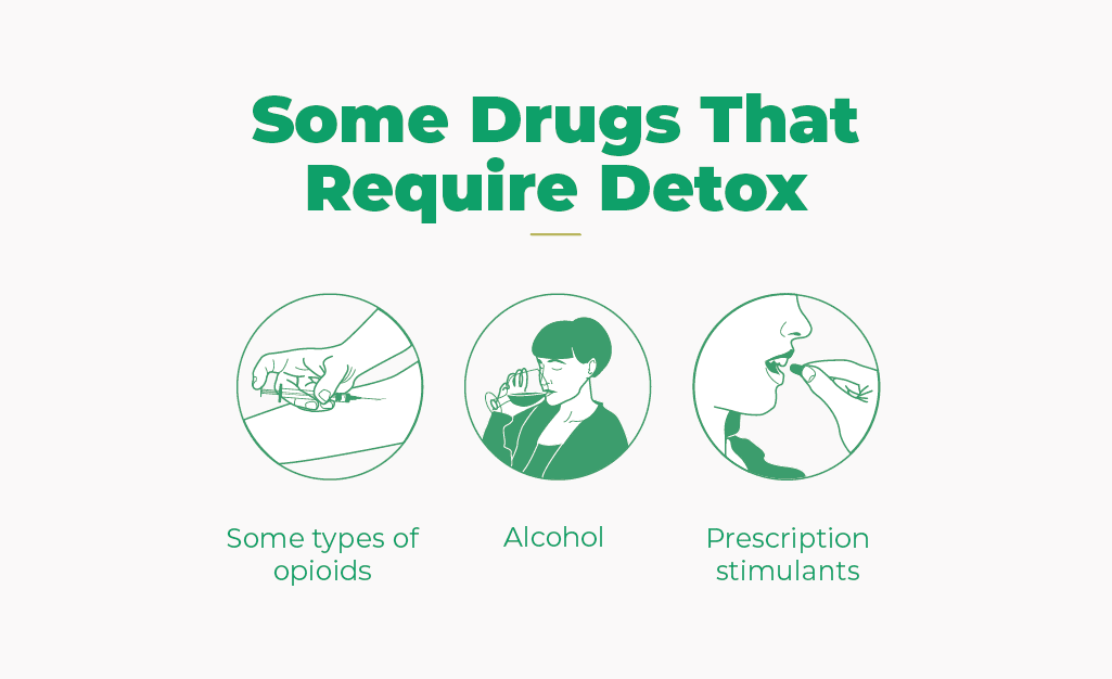 Some drugs that require detox are some types of opioids, alcohol and prescription stimulants
