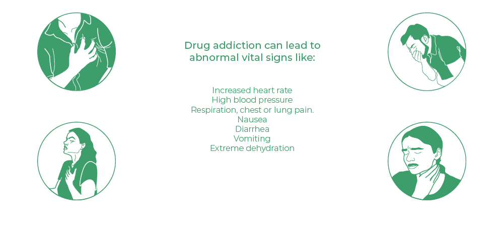 Drug addiction can lead to abnormal vital signs